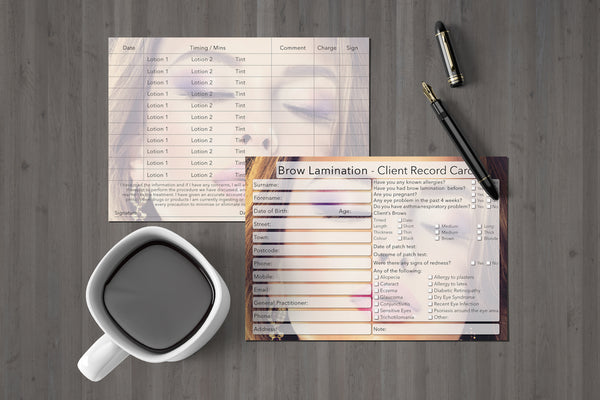Brow Lamination Client Card / Treatment Consultation Card / Photo Background