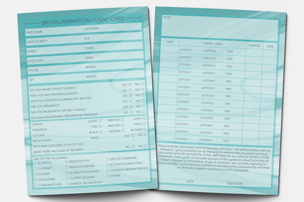 Brow Lamination Client Card / Treatment Consultation Card / Portrait Design