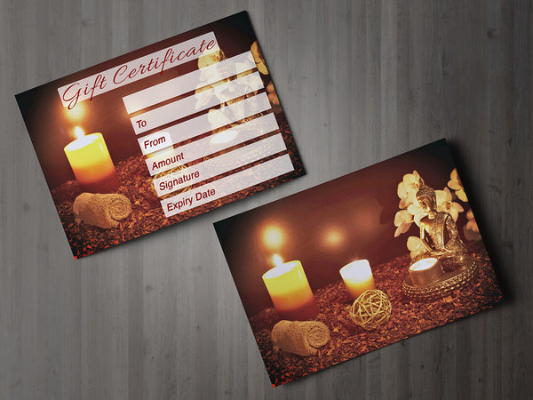 Gift Voucher Card for Massage/Beauty Salons, Hairdressers, Therapists - Buddha Photo