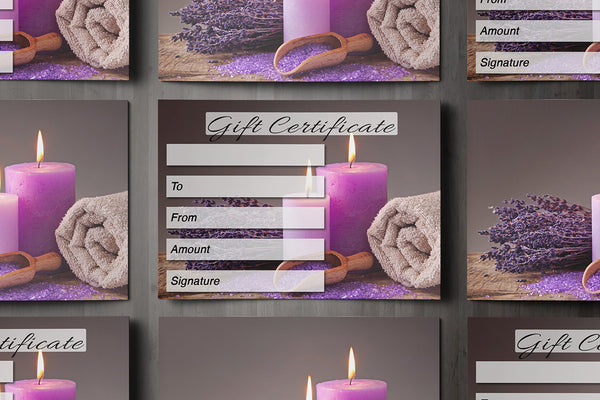 Gift Voucher Card for Massage/Beauty Salons, Hairdressers, Therapists - Spa design