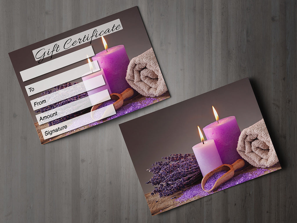 gift voucher card for massage  beauty salons  hairdressers