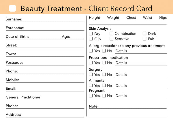 Beauty Client Card / Treatment Consultation Card