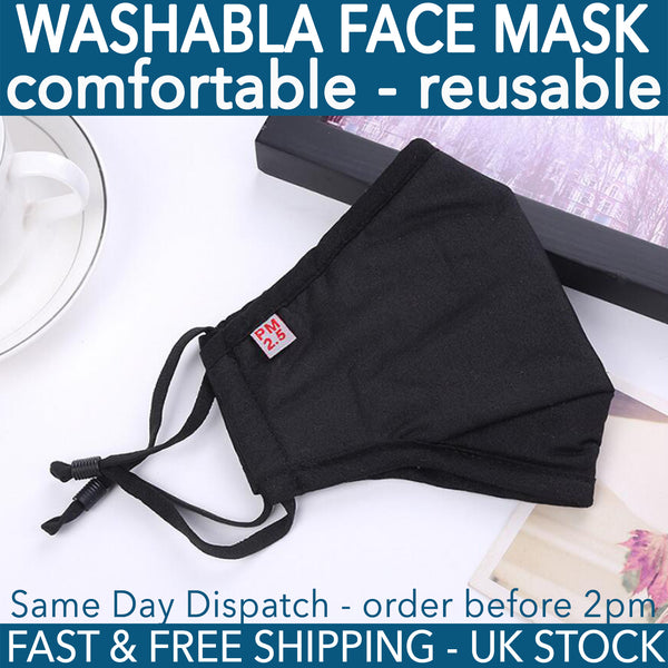 Black Reusable Fabric Mask Compatible with PM2.5 Activated Carbon Filter
