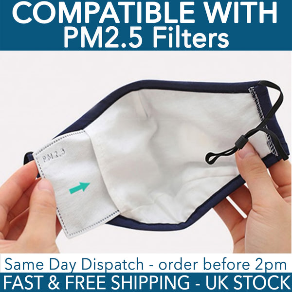 Face Mask Cover for Kids - Compatible with PM2.5 filters- UK Stock