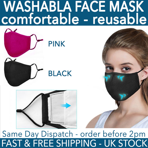 Pink Reusable Fabric Mask Compatible with PM2.5 Activated Carbon Filter