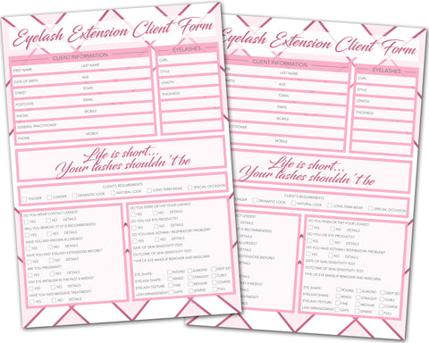 Eyelash Extension Client Card / A5 Large Consultation Card Form / GDPR Compliant