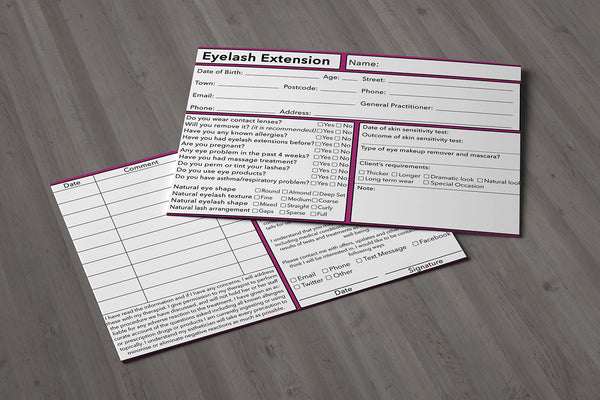 Eyelash Extension Client Card Premium Paper - GDPR Compliant
