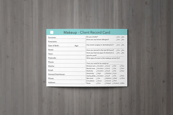 Makeup Client Card / Treatment Consultation Card