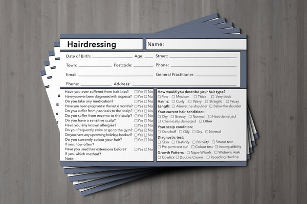 Hairdressing Client Card Premium Paper - GDPR Compliant