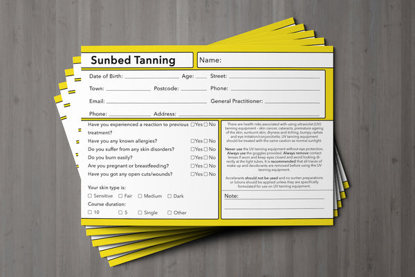 Sunbed Tanning Client Card Premium Paper - GDPR Compliant