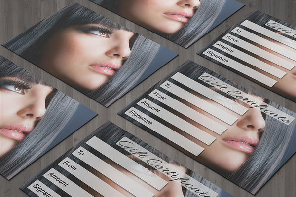 Gift Voucher Card for Beauty Salons, Hairdressers, Eyelash Extension, Makeup - Hair design