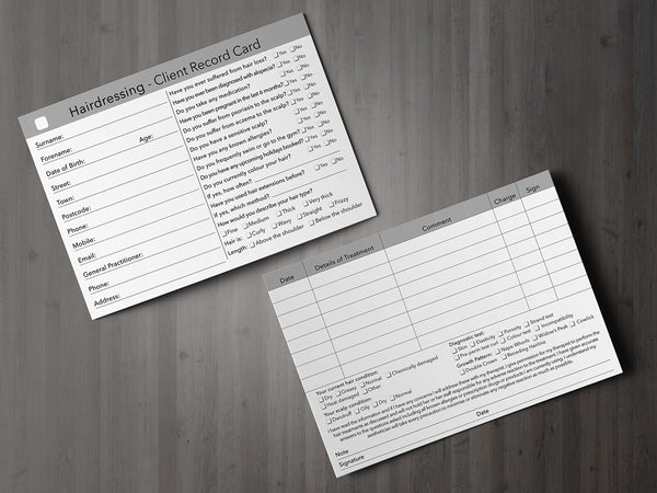 Hairdressing Client Card / Treatment Consultation Card