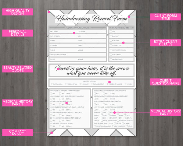 Hairdressing Client Card / A5 Large Consultation Card Form
