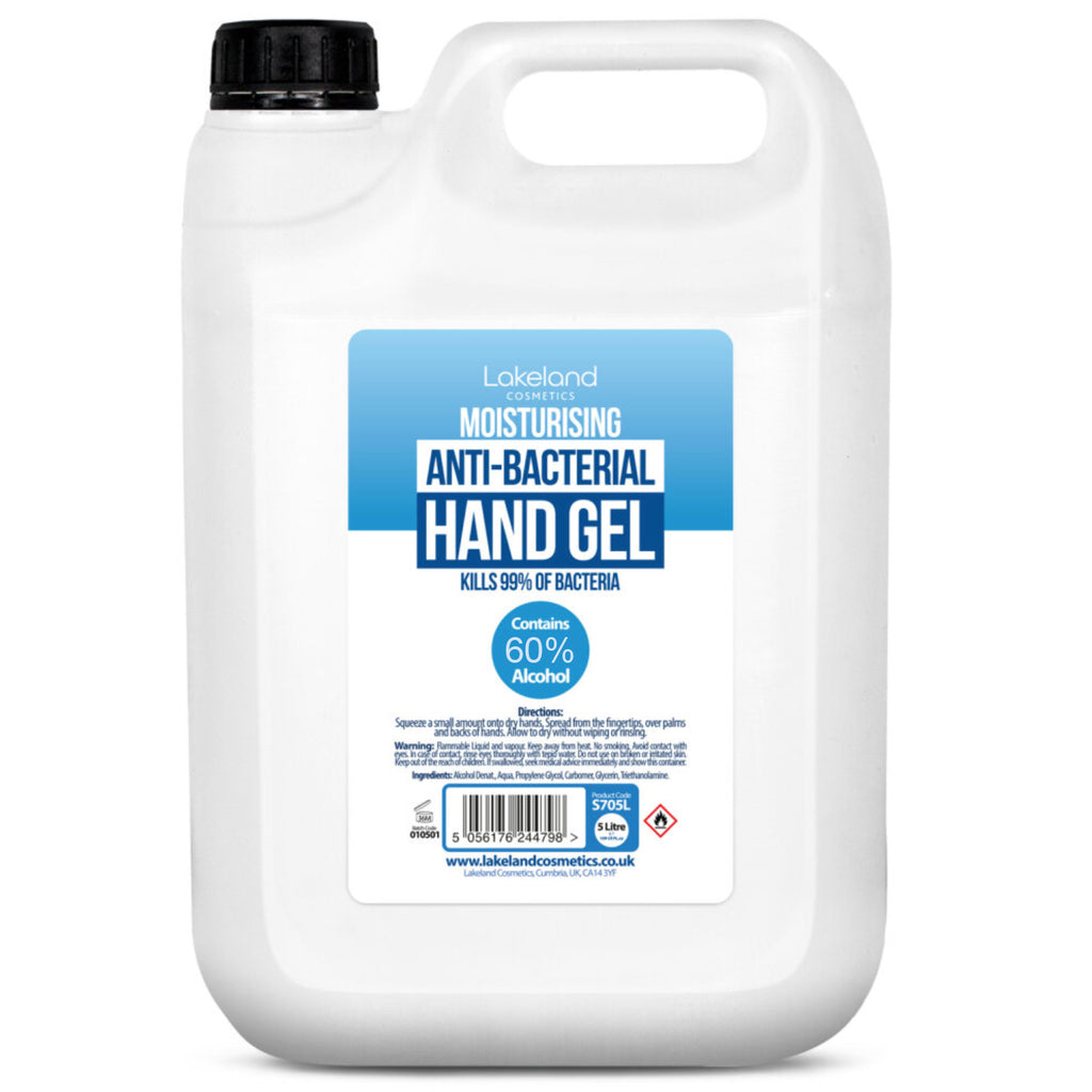Lakeland Hand Sanitiser Gel Antibacterial Kills 99.9% of Bacteria 5L