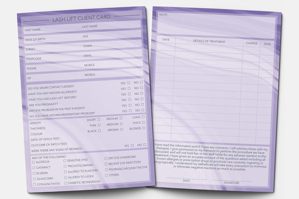 Lash Lift Client Card / Treatment Consultation Card / Portrait Design