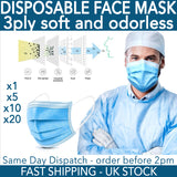 Face Mask Surgical Disposable Mouth Guard Cover Face Masks Respiration UK Stock
