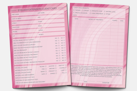 Eyelash Extension Client Card / Treatment Consultation Card / Portrait Design