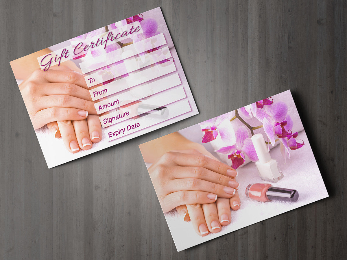 Gift Voucher Card for Beauty Salons, Nail Technicians, Therapists ...