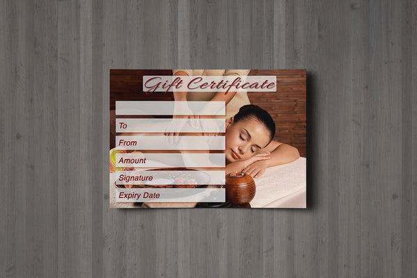 Gift Voucher Card for Massage/Beauty Salons, Therapists