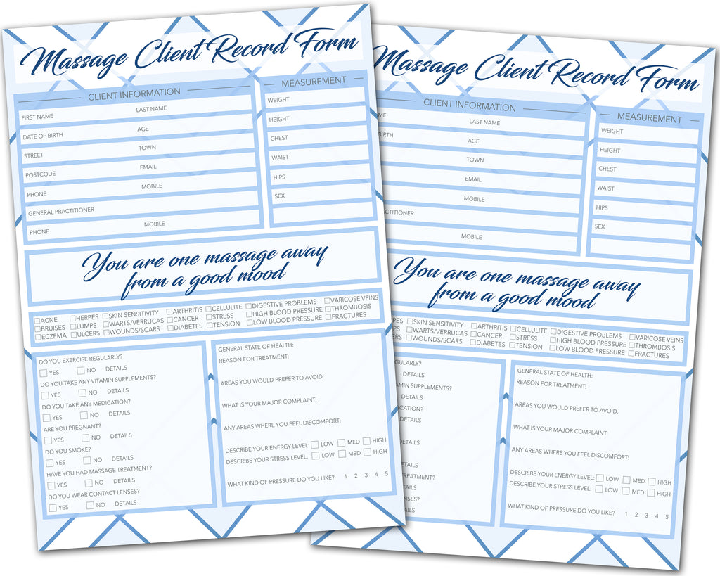 Massage Client Card / A5 Large Consultation Card Form / GDPR Compliant