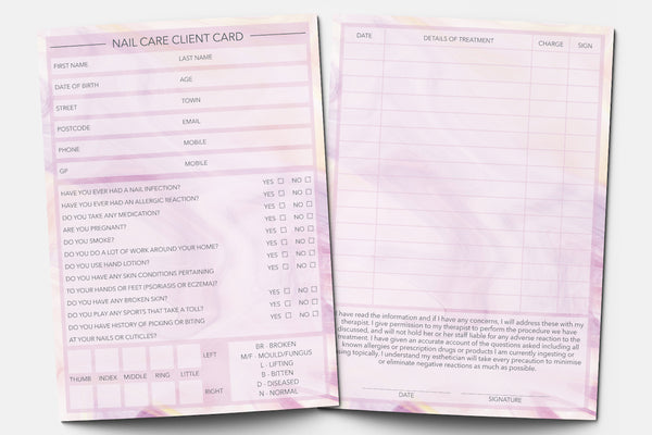 Nail Care Client Card / Treatment Consultation Card / Portrait Design