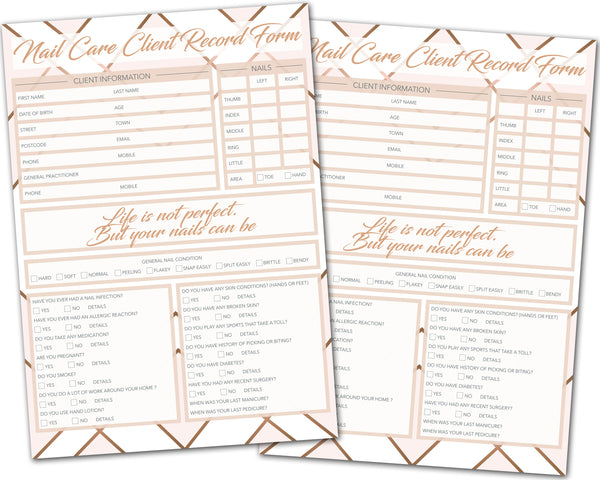 Nail Care Client Card / A5 Large Consultation Card Form / GDPR Compliant