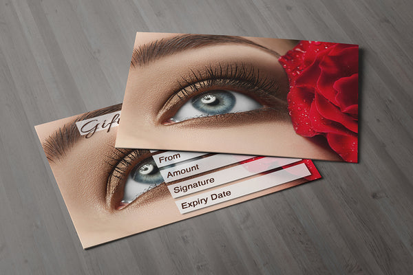 Gift Voucher Card for Makeup / Beauty Salons, Eyelash Extension, Lash Lift Treatment