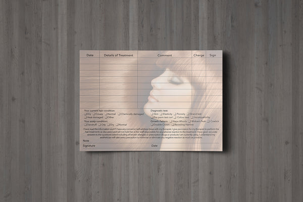 NEW Hairdressing Client Card / Treatment Consultation Card / Photo Background