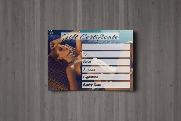 Gift Voucher Card for Solariums / Beauty Salons, Spray Tan, Sunbed, Waxing