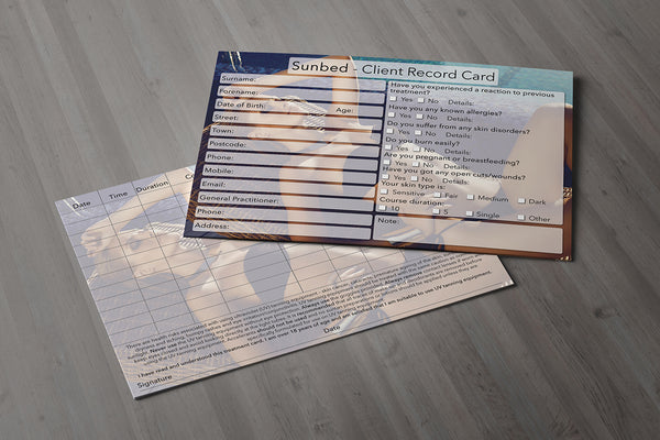 Sunbed Client Card / Treatment Consultation Card / Photo Background