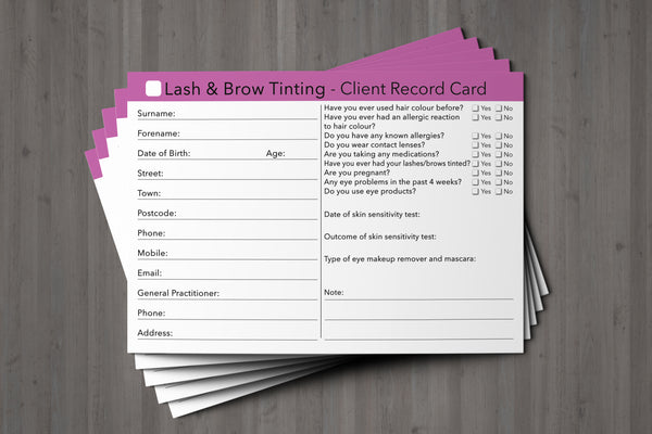 Lash & Brow Tinting Client Card / Treatment Consultation Card