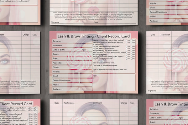 Lash & Brow Tinting Client Card / Treatment Consultation Card / Photo Background