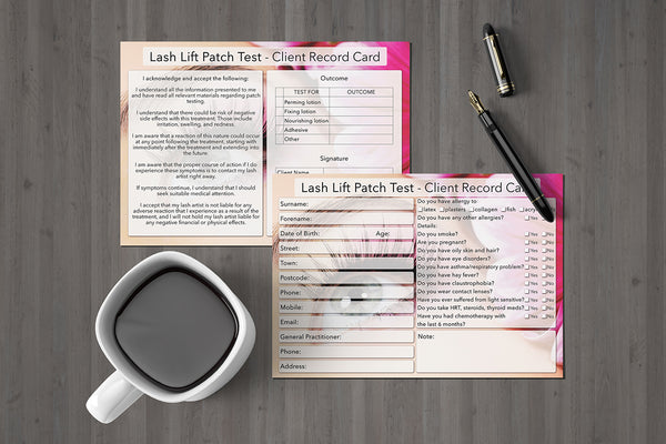 NEW Lash Lift Patch Test Client Card / Treatment Consultation Card / Photo Background