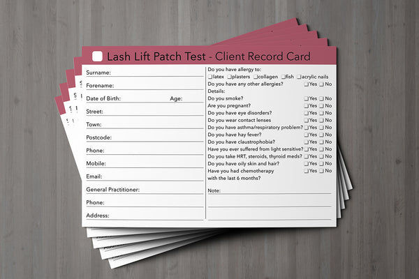 Lash Lift Patch Test Client Card / Treatment Consultation Card
