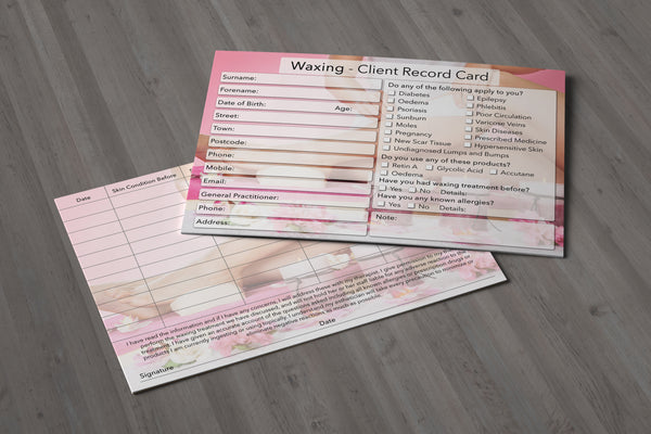 NEW Waxing Client Card / Treatment Consultation Card / Photo Background