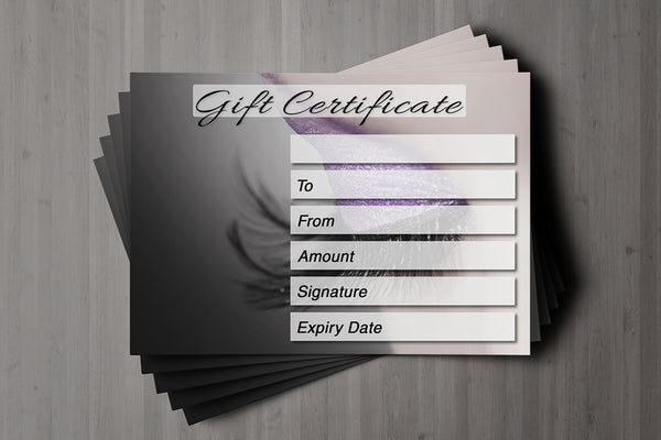 Gift Voucher Card for Eyelash Extension, Lash Lift, Beauty Treatment, Tinting