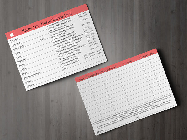 Spray Tan Client Card / Treatment Consultation Card