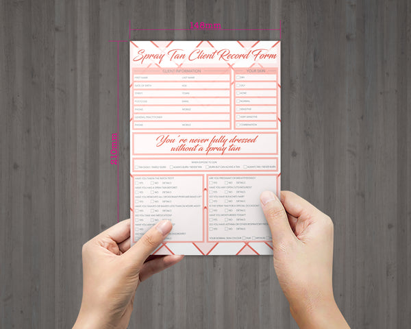 Spray Tan Client Card / A5 Large Consultation Card Form / GDPR Compliant