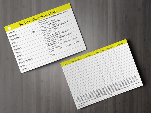 Sunbed Client Card / Treatment Consultation Card