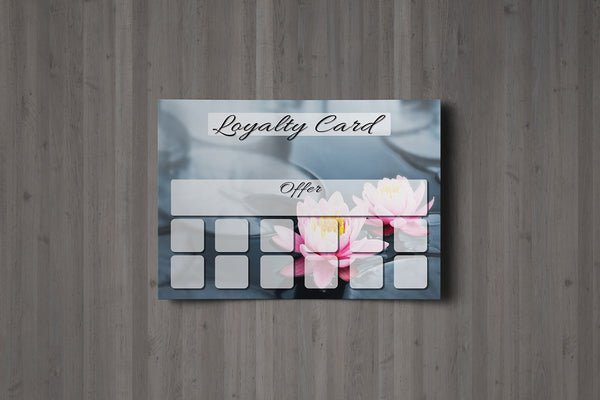 Loyalty Card for Massage/Beauty Salons, Hairdressers, Therapists - Water Lilly photo - A7 size