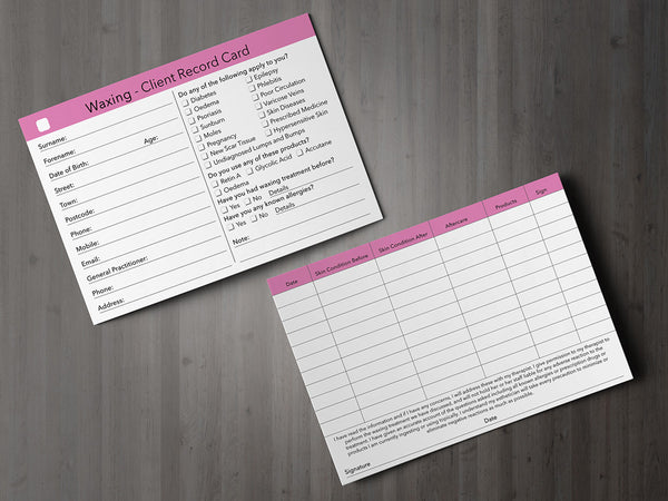 Waxing Client Card / Treatment Consultation Card