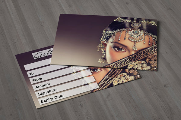 Gift Voucher Card for Hairdressers / Beauty Salons, Nail Treatment, Spa, Massage, Indian Women