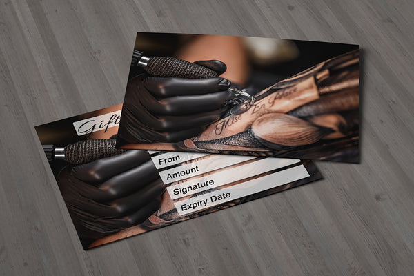 Gift Voucher Card for Tattoo Shops / Tattoo Removal, Tattoo Artists, Tattoo Fixing