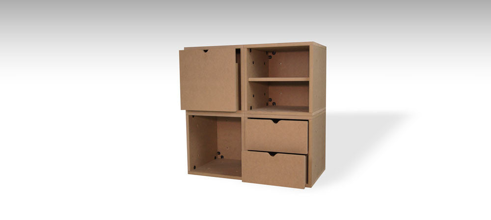 4-Zube Configuration with drawers, shelf & door
