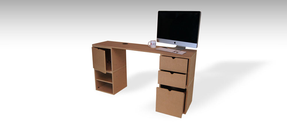 Shallow desk with computer