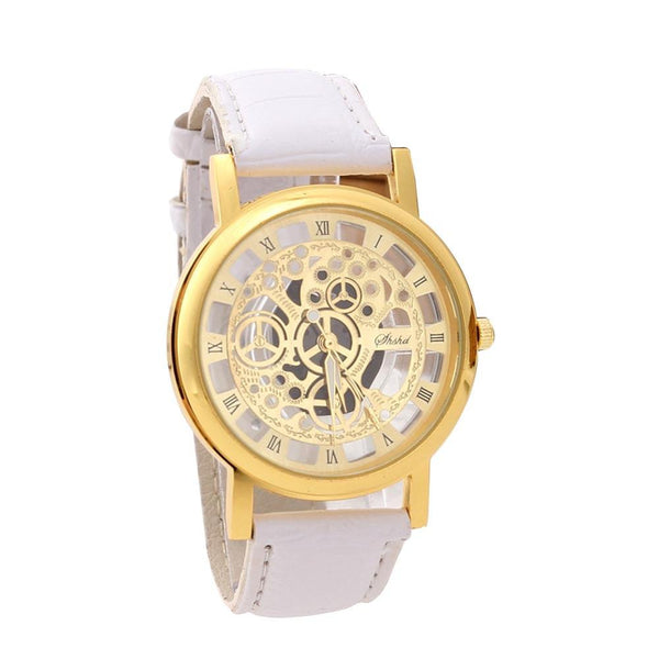 New Fashion Engraving Watches Imitation of Mechanical Watch Women Men Quartz Wristwatch Gift