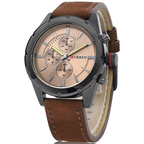 CURREN brand design 2016 new fashion casual leather sport man clock military army business wrist quartz male luxury watch 8154