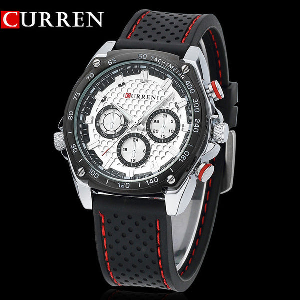 NEW Curren sports Military watch Brand DIAL CLOCK HOURS HAND BLACK  LEATHER STRAPS MENS WRIST WATCH 3ATM Waterproof Wristwatches