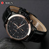 New Fashion brand Curren Black leather strap Business Casual Quartz Watch Men Gold gentleman clock Quartz Man Wristwatch