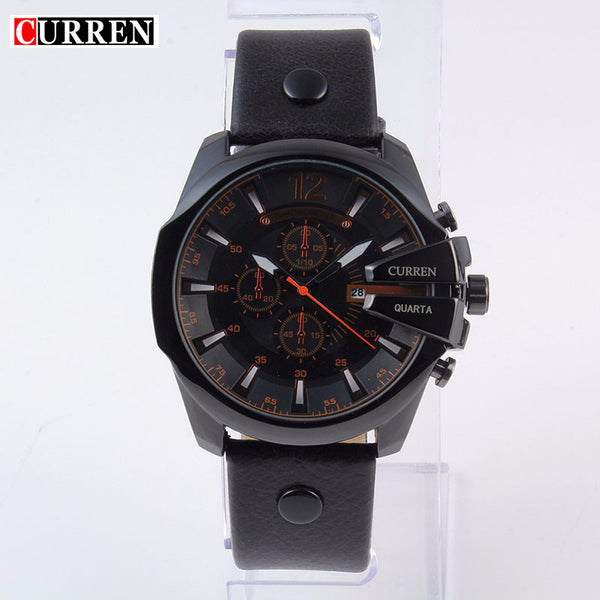 2016 NEW CURREN Large dial  men's watches top luxury brand sport  Quartz watches  leather band writh watch men gift reloj hombre